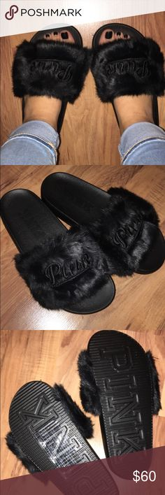 Brand new PINK fluffy slides Size small. I'm a size 6 so would fit 6 and below. Very very cute resembles the Rihanna's puma slides in black! PINK Victoria's Secret Shoes Slippers
