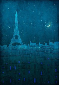 Sold by etsy.com The Eiffel tower in Paris - Paris art illustration print  Ellen Lawrenson