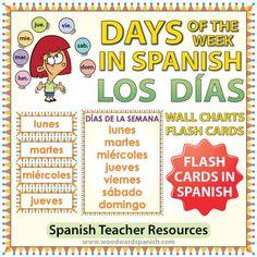 Spanish Days of the Week Flash Cards / Charts --- Tarjetas y afiches con los días de la semana en español