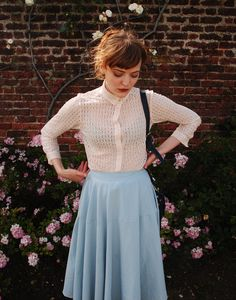 fashion, blue, a line skirt, roses, blouse, style, pretty, summer