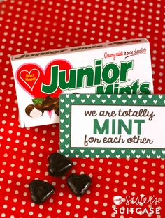 Free printable tag goes with these fun heart-shaped Junior Mints for an easy Valentine!