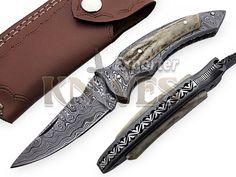 Knives Exporter Custom Damascus Steel Folding Knife Antler Stag Handle KE-F44 #KnivesExporter