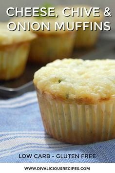 These delicious savoury cheese muffins are a great savoury start to the day. Try one for a keto breakfast on the go.Baked with coconut flour and flavoured with cheese chive and onion these low carb and gluten free muffins are very moreish too! Keto Foods, Keto Approved Foods, Keto Snacks, Snack Recipes, Breakfast Recipes, Dinner Recipes, Snacks List, Dessert Recipes, Diabetic Snacks