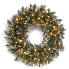 National Tree GB331924W6 24Inch Glittery Bristle Pine Wreath with 50 Soft White LED Lights -- You can get additional details at the image link.