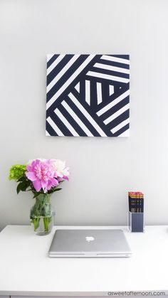 As you might already know from my last DIY wall art project or if you've seen my colorful astract paintings, I tend towards a modern style. I also kind of have a thing for geometry. While we don't always have the same home decor preferences, I think an overall modern style is one... #canvaspainting
