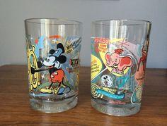 Vintage Disney Glasses / Retro  Disney Drinking Glasses Set of Two / Disney Glassware by VintageVixens1 on Etsy