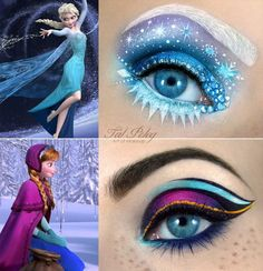 disney makeup looks Makeup artist Tal Peleg posted these amazing eye makeup designs based on the two main characters in Disneys Frozen. This Disney Princess Eye Makeup Art Is Stunning Eye Makeup Designs, Eye Makeup Art, Eye Art, Beauty Makeup, Anna Makeup, Queen Makeup, Movie Makeup, Makeup Contouring, Fairy Makeup