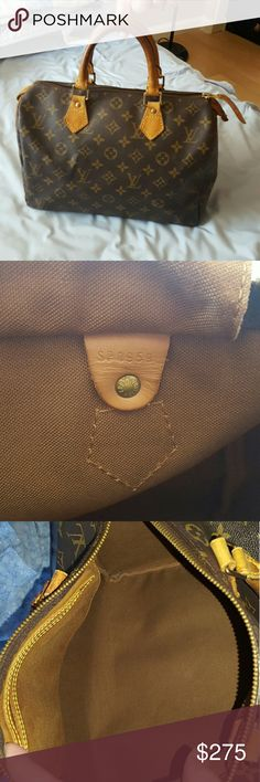 Authentic Louis Vuitton Speedy 30 Authentic Louis Vuitton Speedy 30. Bag outside monogram is in good condition,  no tear,  no rip.  All Leather has patina and showing aging.  Zipper is very smooth.  The end tab leather where for you to lock the key has wear, see last pic.  Inside is very clean. Corners has some rubbing.  All piping are fine.  Datecode is SP0959. Overall bag is in good condition. As always please look through all photos and descriptions.  I will be video recording and taking…