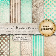 Robin's Egg Printable Scrapbook Papers