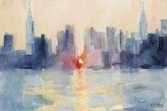 Manhattanhenge New York Skyline Painting  by Beverly Brown Prints