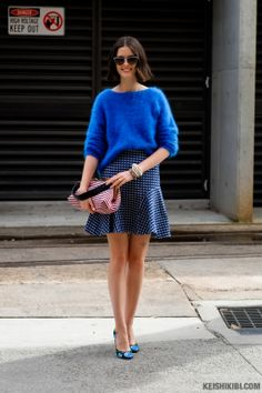Fuzzy top and floral shoes plus a Miu Miu bag. #AustraliaFashionWeek