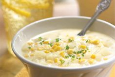 Creamy Corn Soup: modified, healthier version: Add kale, use 2 cans of cream of corn, add water, use 2 cups of fat free milk, use sweet potatoes or yams instead of regular potatoes, red onion or yellow onion for sweetness.