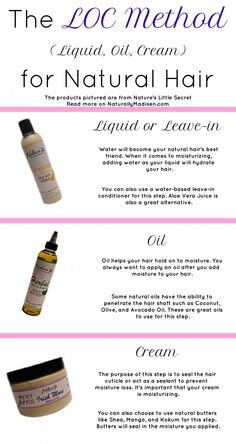The LOC Method for Natural Hair, What is it? Have you heard of the LOC method for natural hair? It's a popular method in the natural hair community that ensures you moisturize your hair effectively. Pelo Natural, Long Natural Hair, Natural Hair Growth, Natural Hair Journey, Natural Skin, Natural Hair Styles, Natural Beauty, Natural Oils, Long Curly
