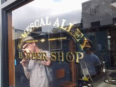 gilded window for the fine gentlemen of the Temescal Alley Barber Shop Glass Signage, Shop Signage, Barbershop Design, Barbershop Ideas, Barber Logo, Window Graphics, Sign Writing, Window Signs, Vintage Windows