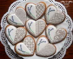 Lavender and Lace Decorated Cut Out Heart Sugar Cookies Lace Cookies, Heart Cookies, Biscuit Cookies, Cupcake Cookies, Sugar Cookies, Cupcakes, Sugar Lace, Paint Cookies, Galletas Cookies