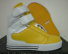 Kids Supra Shoes In White Yellow