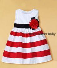 2014 Baby Girl vestido vermelho e branco listrado floristas Princesa Vestidos para vestidos para crianças Roupas Girls 'Trajes crianças (China (continente))