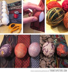 Old silk ties wrapped around eggs and boiled for 15 minutes crafts