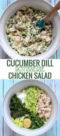 This recipe for lightened-up Cucumber Dill Greek Yogurt Rotisserie Chicken Salad comes together in less than 10 minutes and tastes like summer in a bowl thanks to crisp cucumber and flavorful herbs. Swap Greek yogurt for mayo to make it dairy free Rotisserie Chicken Salad, Chicken Salad Recipes, Salad Chicken, Healthy Rotisserie Chicken Recipes, Cucumber Chicken Recipe, Recipes For Cucumbers, Chicken Salad Healthy, Chicken Salad Without Mayo, Recipes With Dill