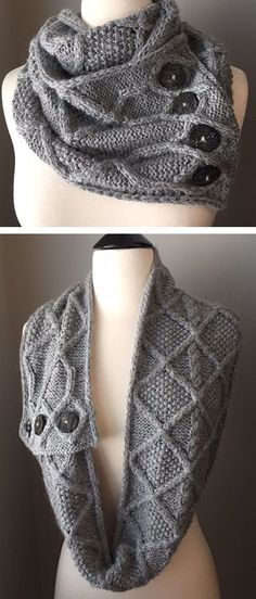 Free through Nov 30 2017 - Knitting Pattern for Behind The Scenes Infinity Scarf Cowl - This is a long buttoned scarf with a cable pattern knit in bulky yarn. Designed by Michelle Hunter