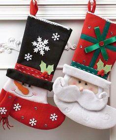 Santa & Snowman Stockings, looks easy to make. Christmas Stocking Images, Felt Christmas Decorations, Felt Christmas Ornaments, Christmas Sewing, Christmas Makes, Noel Christmas, Christmas 2019, Felt Crafts, Holiday Crafts
