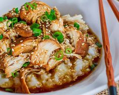 Slow Cooker Teriyaki Chicken - Let it cook in the crockpot for a little too long, it became very concentrated.  Probably doesn't need more than 3 or 4 hours.  Made with stir fried asian veggies and topped with lots of green onions and sesame seeds.