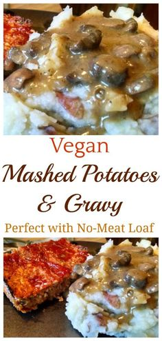 These garlic mashed potatoes with mushroom gravy are definitely a comfort food and deliciously healthy! Garlic is a great way to add an extra flavor to mashed potatoes without adding fat. They go well with our No-Meat Loaf too. Gravy For Mashed Potatoes, Creamy Garlic Mashed Potatoes, Potato Gravy, Vegan Side Dishes, Vegan Thanksgiving, Whole Food Recipes, Fall Recipes, Vegetarian Recipes, Vegetarian Dinners