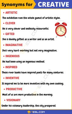 CREATIVE Synonym: List of 9 Synonyms for Creative with Useful Examples