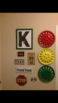 I am finally done! I did get this idea from Pinterest but I can't find it!   I bought the hubcaps off ebay. They were $15 for four of them....