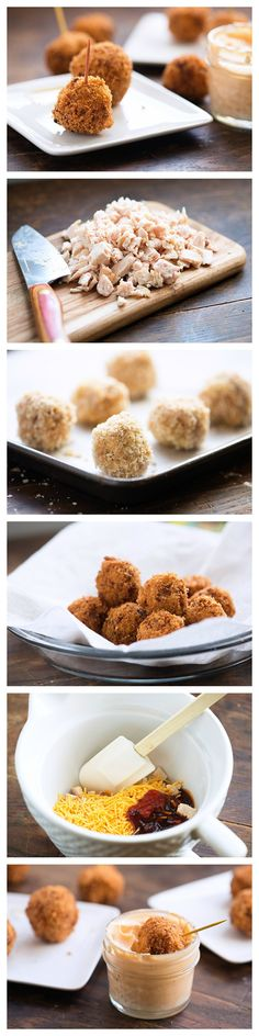Deep-fried cheesy chicken balls seasoned with spicy barbecue sauce!