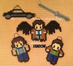 Supernatural Christmas Ornaments perler beads , Set of 5 by MadamFandom on etsy  http://www.facebook.com/MadamFandom
