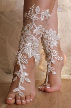 Unique Lace sandals ivory Beach wedding barefoot sandals,hand-embroidered barefoot sandals, belly dance shoes