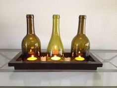 Wine bottle candle holders - DIY with a glass cutter! Wine Bottle Candle Holder, Diy Candle Holders, Bottle Cutter, Glass Cutter, Glass Bottles, Wine Rack, Helpful Hints, Diy And Crafts, Centerpieces