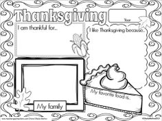 """I hope you and your students enjoy this THANKSGIVING FREEBIE! This freebie is an """"All About Thanksgiving"""" activity that has the students filling in the date, what they like about Thanksgiving, their favorite Thanksgiving food, what they are thankful for and a picture of their family. When completed, this activity would be great to matte/frame, laminate and send home with your students as a Thanksgiving Day placemat and parent keepsake!"""