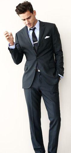 Navy suit. Tie bar. Pocket square. Arthur Kulkov.