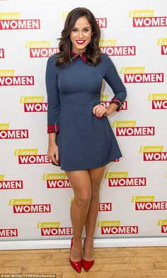 Kerry Katona managed to smile as she arrived at the ITV studios on Monday - wearing exactly the same dress as former Loose Women guest Vicky Pattison Dresses For Work, Navy Dress, Red Heels, Sexy High Heels, Vicky Pattinson, Lovely Legs, Hot Brunette, Looking Gorgeous, Woman Fashion