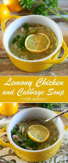 Lemony Chicken and Cabbage soup with quinoa....healthy, delicious, and on the dinner table in less than 30 minutes! Try it with your leftover Thanksgiving turkey too! This is a tried and true family favorite recipe!