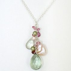Green Amethyst Pendant with Keishi Pearls & Gem Stones. Tranquil necklace in pastel colors for weddings, resort, every day wear.