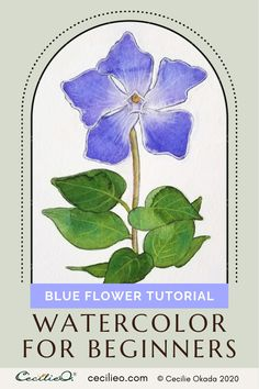 The blue periwinkle flower is perfectly suited as a watercolor for beginners. The form is simple and the color is beautiful. Tutorial with FREE line art. #watercolortutorial #howtowatercolor #watercolorart Watercolor Beginner, Watercolor Paintings For Beginners, Watercolor Tips, Watercolour Tutorials, Watercolor Flowers, Periwinkle Flowers, Light Blue Flowers, White Gouache, Happy Paintings