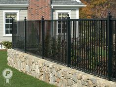 flag stone wall white picket fence - Google Search