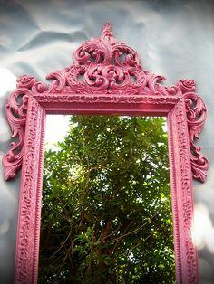 Vintage Mirror Watermelon Pink Ornate French Paris