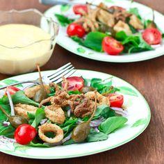 Fried Calamari Salad with Caperberries and Lemon Aioli via @spicyperspectiv