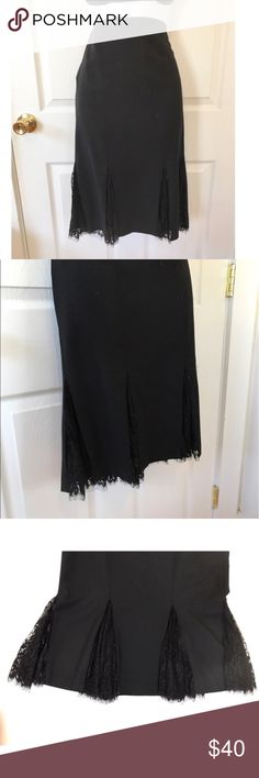 """💸50%💸 NWOT Bebe Mermaid Style Pleated Midi Skirt Black midi skirt flared at the bottom. Complete with a trim made up of alternating sections of black lace. Its like a mermaid skirt. All black. 87% Wool, 10% Polyamide, 3% Spandex   Waist: 14 - 14.25""""  Hip: 17""""  Hem: 27""""  length: 24"""" bebe Skirts Midi"""