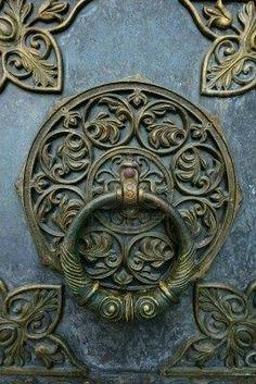 Bronze knocker on the church door Stock Photo Door Knobs and Knockers