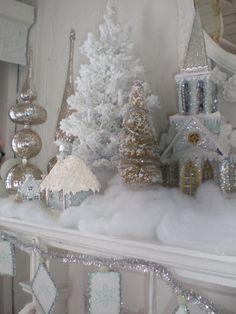snowy white mantel---love it, love the mercury class love the glittery little village