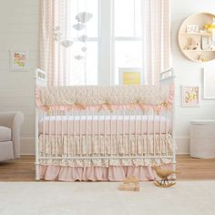 Crib Bedding Skirt in Pale Pink and Gold Chevron by Carousel Designs.