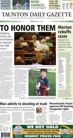 The front page of the Taunton Daily Gazette for Friday, May 13, 2016.