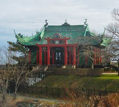 Chinese Tea House Built in 1914 by Mrs. Alva Belmont after she divorced she divorced Vanderbilt & kept the house. after her second husband died, the Tea House was used as a rallying spot for women's right to vote.  (Newport Road Island Mansions)