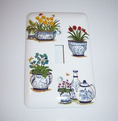 Blue and white flower pots - single light switch cover by MoanasUniqueDesigns on Etsy