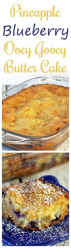 Pineapple Blueberry Ooey Gooey Butter Cake #SundaySupper - Recipes Food and Cooking